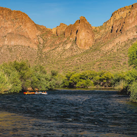 Floating Down the River by Fred Bartholomew - Novices Only Landscapes ( daytime, mountains, desert, nature, flowing, waterscape, floating, recreation, rafting, river )