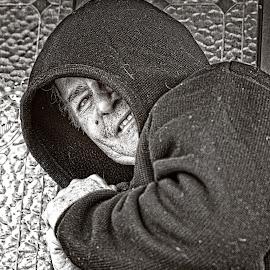 Man With Secrets by Eugene Dopheide - Black & White Portraits & People ( b&w, dark, man )