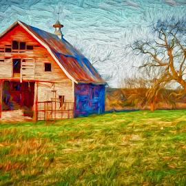 SOONER SUNRISE by Allen Crenshaw - Digital Art Places ( allen crenshaw, barn, oklahoma, expressionism, digital manipulation, sunrise, spring, painting )