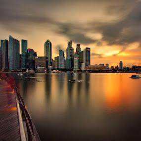 Very Cloudy Sunset Citiscape by Ken Goh - City,  Street & Park  Neighborhoods