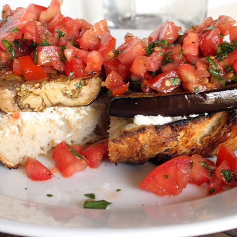 Open Faced Eggplant Sandwich