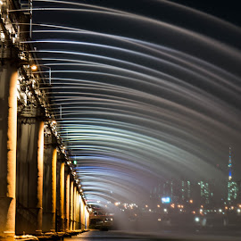 by Alex Phillips - Buildings & Architecture Bridges & Suspended Structures ( water, rainbow bridge, colors, seoul, night time, bridge, korea, banpo bridge, banpo, south korea )