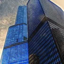 blue buildings by Fraya Replinger - Buildings & Architecture Office Buildings & Hotels ( blue, buildingd, windows, chicago, office building, architecture )