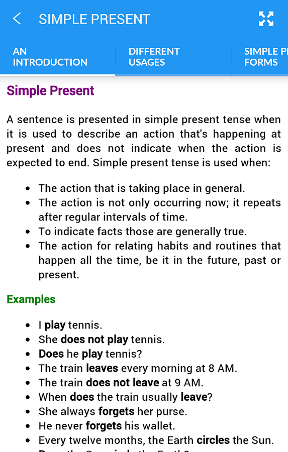 English Tenses Screenshot 1