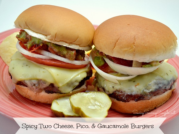 Spicy Two Cheese, Pico, and Guacamole Grilled Burgers Recipe | Yummly