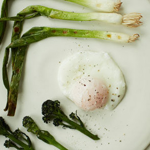 Purple Sprouting Broccoli & Spring Onion with Poached Egg