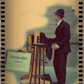 Photographer by Zenonas Meškauskas - People Street & Candids ( old, street, camera, photographer, hat )