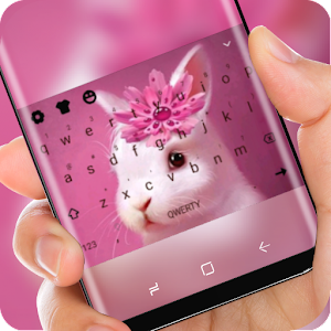 White Cute Bunny Keyboard Pink Flower Theme