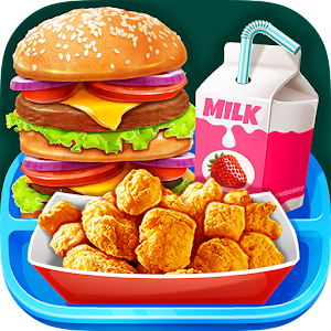 School Lunch Food - Burger, Popcorn Chicken & Milk For PC