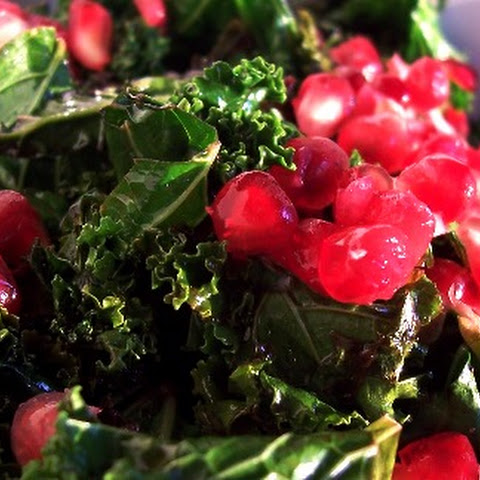 Sweet & Sour Braised Kale with Pomegranate