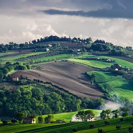 Green Hills & Dark Cloud by Emanuele Zallocco - Landscapes Mountains & Hills ( hills, green )
