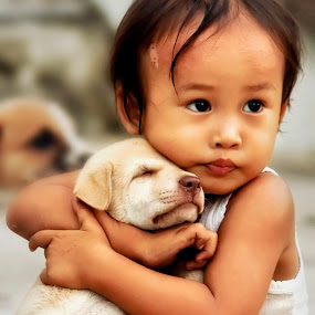 lovely kids by Alvin Lee Hahuly - Animals - Dogs Portraits ( lovely, kid dog )
