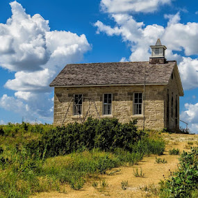 Little School House On The Pairie by Jack Powers - Buildings & Architecture Public & Historical ( school house, school, pairie, tallgrass, kansas )