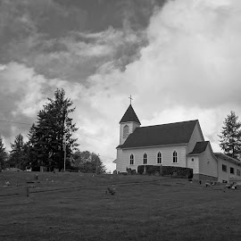 Freeborn Lutheran Church  by Todd Reynolds - Black & White Buildings & Architecture