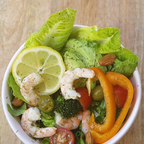 Shrimp Salad with Healthy Homemade Lemon Dill Salad Dressing