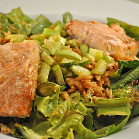 Salmon Salad with Spanish Rice, Pimento Dressing