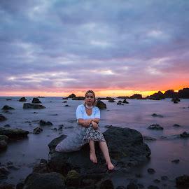 Sunset women by Moises Paquete - Uncategorized All Uncategorized ( sunset, women, azores )