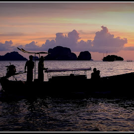 Return from Work.... by Pradeep Bhaskaran - Transportation Boats ( sunset, calm waters, still waters, krabi, boat )