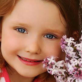 Beauty & Lilacs by Cheryl Korotky - Babies & Children Child Portraits