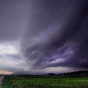 Field and Storm by Cristobal Garciaferro Rubio - Landscapes Cloud Formations ( clouds, field, volcano, méxico, puebla, storm )
