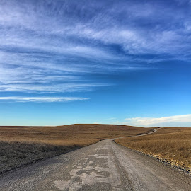 The Long and Winding Road by Stephanie Ostrander Bishop - Instagram & Mobile iPhone ( curve, sky, outdoor, dirt road, flat, plains, road, landscape, prairie, rural )