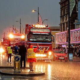 East Coast Truckers by Chrissy Woodhouse - City,  Street & Park  Street Scenes ( holiday, east coast, parade, trucks, great yarmouth, east anglia, seaside, rain )