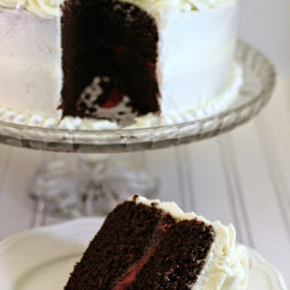 Devils Food Cake with Raspberry Filling