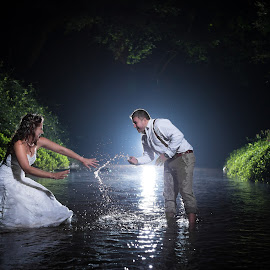 Wetlands by Lood Goosen (LWG Photo) - Wedding Bride & Groom ( water, wedding photography, night photos, wedding photographers, splash, wedding day, weddings, wedding, bride and groom, wedding photographer, bride groom )