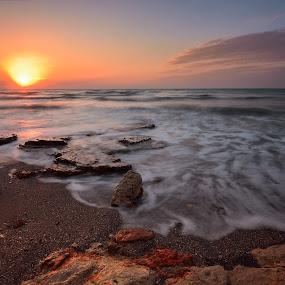 Eternal flame by Lucian Satmarean - Landscapes Beaches ( sea, sunrise, beach, sun )
