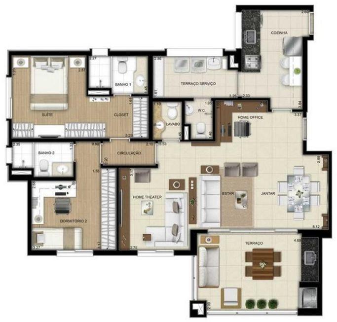 Planta Apto 2 Dorms com Sala Ampliada - 109 m²