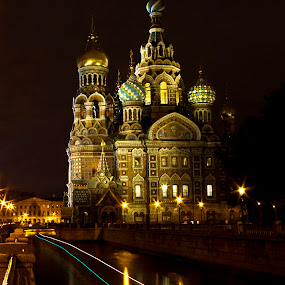 Savior on the Blood at Night by Olga Charny - Buildings & Architecture Places of Worship