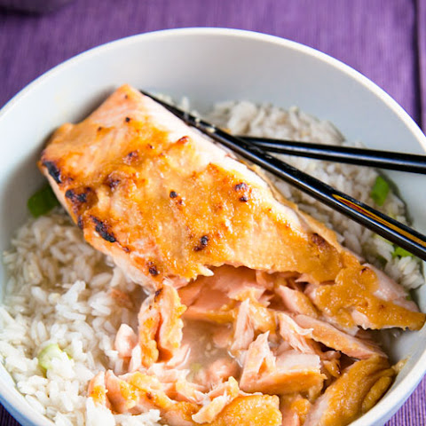 Miso Glazed Salmon in Green Tea-Ginger Broth