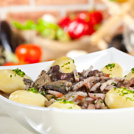stew by Craciun Alexandru - Food & Drink Eating ( wine, stew, white bowl, background, meat, potatoes, vegetables, spices, parsley, mushrooms )