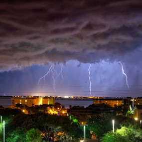 Natures Light Show by Dave Files - Landscapes Weather ( flash, lightning, thunderstorm, nature, dark, weather, night, storm )