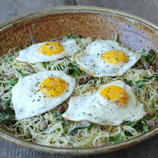 Spaghettini with Arugula, Pancetta, Herbs & Eggs