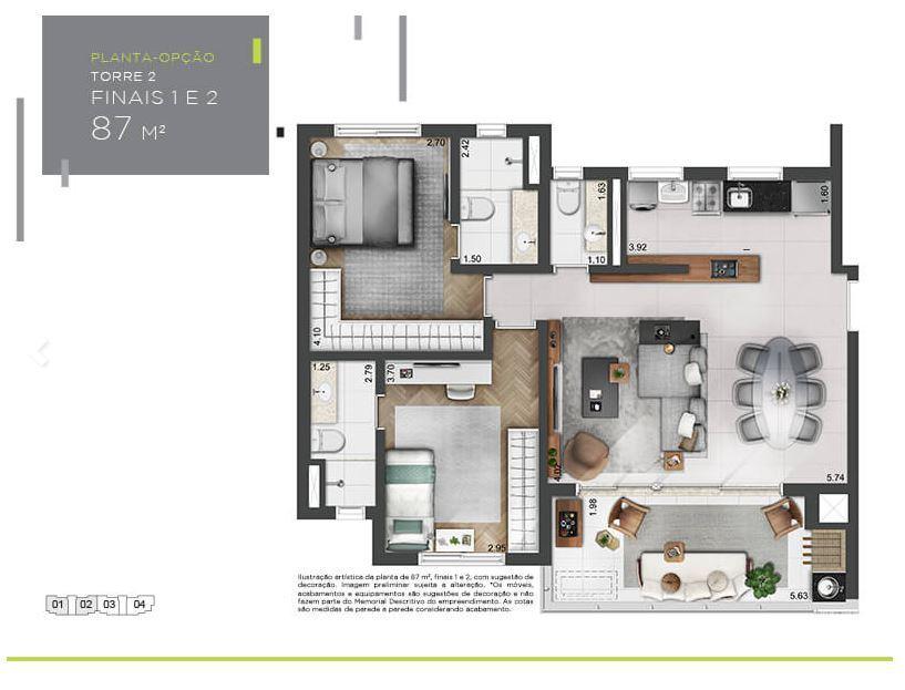Planta Opção - 87 m²