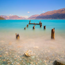 The old jetty .... by Anupam Hatui - Landscapes Waterscapes ( lake wakatipu, waterscape, lake, jetty, landscape, new zealand )