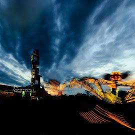 Fair Night by Greg Croasdill - City,  Street & Park  Amusement Parks ( sky, rides, carnival, sunset, fair )