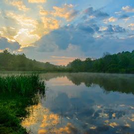 Keystone SP by Clare Kaczmarek - Landscapes Waterscapes ( clouds, sunrises, keystone lake, pa state parks, lakes )