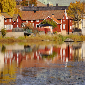 Houses and the river by Stefan Pettersson - Landscapes Waterscapes ( house arboga sweden refflecton water )