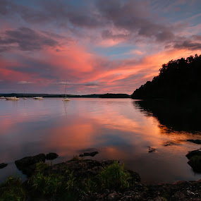 Loch Lomond by Iain Cathro - Landscapes Sunsets & Sunrises ( water, scotland, sunset, boats, loch, landscape, lomond )