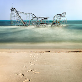 Headed out to sea by Buddy Eleazer - City,  Street & Park  Amusement Parks ( seaside heights, roller coaster, hurricane sandy, ocean, beach, seascape, landscape, new jersey )