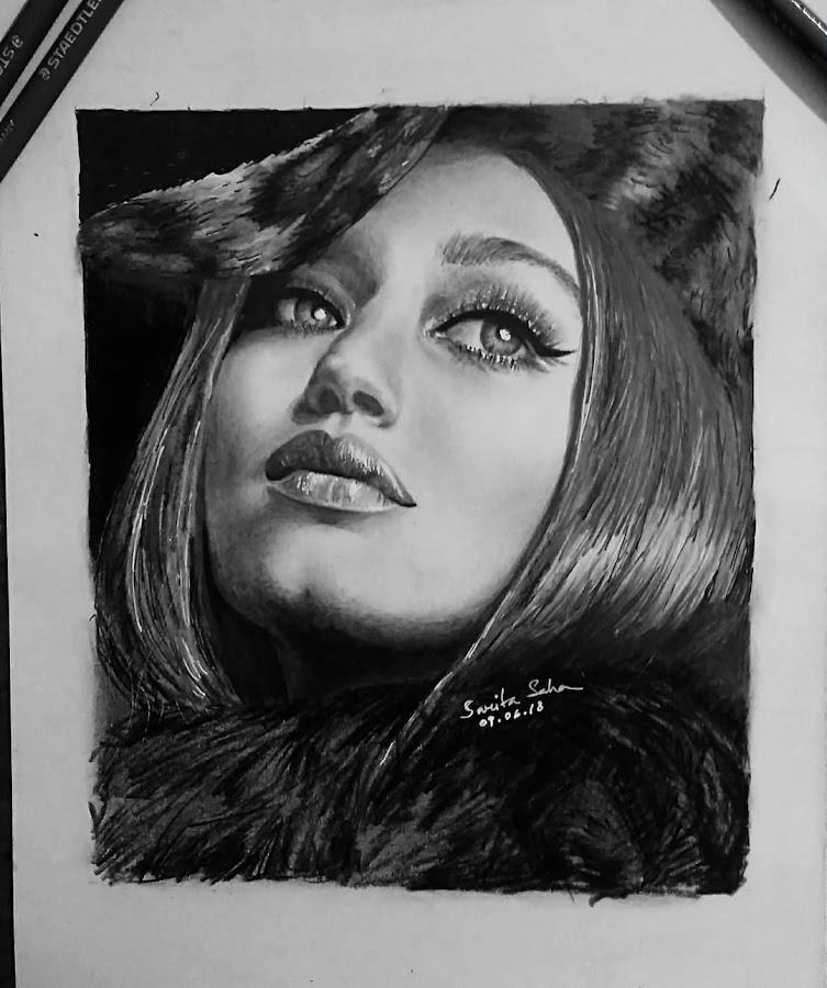 Sketch by me of Gigi Hadid by Tutul Saha - Painting All Painting ( paper, sketch, pencil, portrait, gigi hadid )