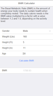 BMR Calculator - screenshot