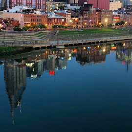 Nashville, Tennessee  by Mary Phelps - City,  Street & Park  Skylines ( sunrise, nashville, tennessee, reflection, cumberland river, skyline, river, cumberland )