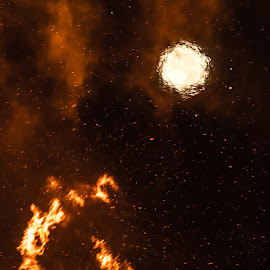 Full Moon in Heat Haze by Doug Faraday-Reeves - Abstract Fire & Fireworks ( haze, bonfire, moon, heat, fire )