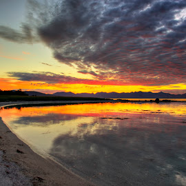 Sunset in the arctic by Marius Birkeland - Landscapes Beaches ( clouds, red, sunset, beach, arctic )