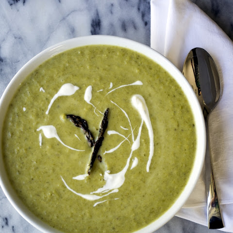 Roasted Asparagus Soup with Lemon Thyme Creme Fraiche
