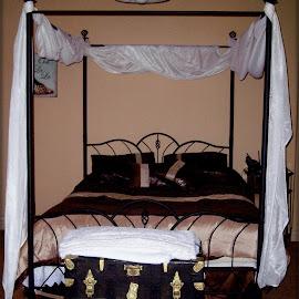 Drape me in love by Sandy Stevens Krassinger - Artistic Objects Furniture ( headboard, trunk, bed, draped bed frame, bedroom )
