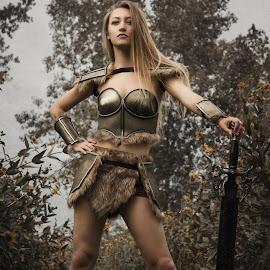 Emmy Sue by Tyler Oxley - People Fashion ( warrior, cosplay, skyrim, model, female, armor, skyrim.cosplay, babe, sword )